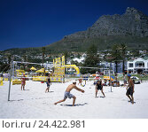 Купить «South, Africa, Capetown, town view, mesa, camps Bay, beach, Beachvolleyball, Africa, province west cape, town, capital, city, Cape Town, sandy beach, volleyball...», фото № 24422981, снято 14 марта 2003 г. (c) mauritius images / Фотобанк Лори