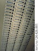 Купить «Residential house, detail, doorbells, outside, block flats, house, input, pinking, bells, several, names, tenants, close up», фото № 24426881, снято 25 февраля 2002 г. (c) mauritius images / Фотобанк Лори