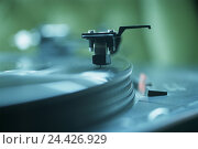 Купить «Record player, pick-up arm, detail, music, reproduction, music plant, record, vinyl, disk plate, tone acceptance test, electrical appliance, entertainment, product photography, Still life», фото № 24426929, снято 4 октября 2005 г. (c) mauritius images / Фотобанк Лори