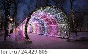 Купить «Рождественская ночь на Тверском бульваре в Москве. Светящийся декоративный туннель», видеоролик № 24429805, снято 14 января 2016 г. (c) Наталья Волкова / Фотобанк Лори