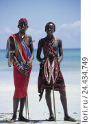 Купить «Africa, Kenya, beach, sea, men, two, Masai, outside, inhabitant, inhabitant, African, non-whites, tribe, shepherd's people, Massai, Massaistamm, jewellery...», фото № 24434749, снято 9 августа 2002 г. (c) mauritius images / Фотобанк Лори