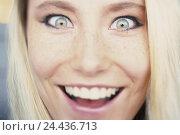 Купить «Woman, astonished young, enthusiasm, portrait, look, expression, is surprised, pleases, joy, please, enthusiastically, surprises, surprise, luck, eye contact...», фото № 24436713, снято 13 февраля 2003 г. (c) mauritius images / Фотобанк Лори