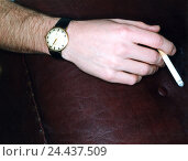 Купить «Man, detail, arm, wristwatch, cigarette smoker, smoke, filtertip cigarette, nicotine mania, mania, nicotine, cancer danger, health risk, unhealthily, harmful, luxury, tobacco products, inside», фото № 24437509, снято 7 ноября 2005 г. (c) mauritius images / Фотобанк Лори