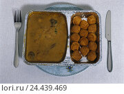 Купить «Ready-to-serve meal, aluminium peel, escalope pork, cream sauce, croquettes, plates, instruments food, dish, meat course,», фото № 24439469, снято 17 апреля 2001 г. (c) mauritius images / Фотобанк Лори