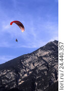 Купить «Austria, Tyrol, Pertisau, paraglider plane, Europe, alps, mountains, mountains, sport, sports area, aviation, aerial sport, trend sport, sport, Paragliding...», фото № 24440357, снято 20 октября 2005 г. (c) mauritius images / Фотобанк Лори