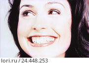 Купить «Woman, young, smile, portrait, women's portrait, head, happy, joy, grin, facial play, expression, joy, happy, cheerfully, cheerfulness, fun, course, naturalness, very close», фото № 24448253, снято 25 мая 2018 г. (c) mauritius images / Фотобанк Лори