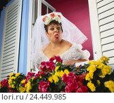 Купить «Window, floral decoration, bride, annoys, tongue, Rau's passages Heavy Weights, studio, woman, wedding dress, veil, white, wedding, marry, look, view,...», фото № 24449985, снято 26 сентября 2000 г. (c) mauritius images / Фотобанк Лори