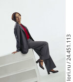 Купить «Woman, young, trousers suit, stilettos, sit, smile, Jung-limited, teenagers, girls, mood, expression, cheerfully, happy, clothes, smartly, elegantly, stairs, studio, cut out,», фото № 24451113, снято 26 сентября 2000 г. (c) mauritius images / Фотобанк Лори
