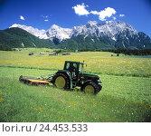 Купить «Germany, Upper Bavaria, Werdenfels, Karwendelgebirge, meadow, tractor, work in the fields, mowing, Werdenfels, mountain landscape, mountains, Karwendels...», фото № 24453533, снято 18 августа 2018 г. (c) mauritius images / Фотобанк Лори