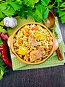 Рис с курицей и кабачками в чаше на доске сверху, фото № 24461065, снято 26 октября 2016 г. (c) Резеда Костылева / Фотобанк Лори