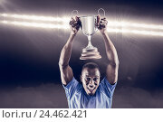 Купить «Composite image 3D of portrait of happy athlete cheering while holding trophy», фото № 24462421, снято 27 июня 2019 г. (c) Wavebreak Media / Фотобанк Лори