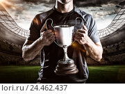 Купить «Composite image 3D of victorious rugby player holding trophy», фото № 24462437, снято 27 июня 2019 г. (c) Wavebreak Media / Фотобанк Лори