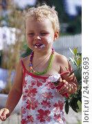 Купить «Infant, girl, nibble, ice-cream, smears, summers, child, 1-2 years, blond, necklace, little summer dress, summery, eat, ice cream food, leaks, lick, mouth...», фото № 24463693, снято 15 декабря 2004 г. (c) mauritius images / Фотобанк Лори