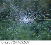 Купить «Windowpane, jumped, glass, window pane, cracks, damage, broken, glass damage, broken glass, burglary, vandalism, damage,», фото № 24465537, снято 18 июля 2002 г. (c) mauritius images / Фотобанк Лори