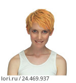 Купить «Woman, young, lay, vest, portrait, model released, studio, cut out, expression, scepticism, guilty, sense guilt, embarrassment, hairs tinted, red-blond, short hair hairstyle», фото № 24469937, снято 31 января 2006 г. (c) mauritius images / Фотобанк Лори