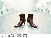 Купить «Toilet area, Pissoirs,,  Lady shoes, Stilettos,  Toilet, publicly, urinals area empty, nobody, shoes, Stiefletten, stilettos, changes Venus shoes, concept, disguise, transvestism», фото № 24485873, снято 16 июня 2019 г. (c) mauritius images / Фотобанк Лори