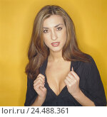 Купить «Woman, young, long-haired, gesture, seduction, portrait, women's portrait, blouse black, low neckline, breasts, point, present, enticing, lasciviously...», фото № 24488361, снято 17 октября 2005 г. (c) mauritius images / Фотобанк Лори