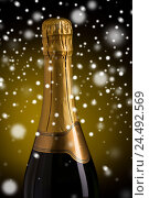 Купить «close up of champagne bottle with golden label», фото № 24492569, снято 18 ноября 2015 г. (c) Syda Productions / Фотобанк Лори