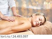 Купить «close up of woman lying and having massage in spa», фото № 24493097, снято 18 декабря 2014 г. (c) Syda Productions / Фотобанк Лори
