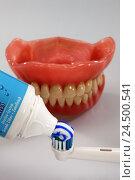 Купить «Bite prosthesis, electric toothbrush, toothpaste,», фото № 24500541, снято 13 ноября 2009 г. (c) mauritius images / Фотобанк Лори
