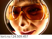 Купить «Woman, smile young, sunglasses, view peephole, portrait, detail, 24 years, Asian, Asian, glasses, orange, orange, view, insight, window, circle, hole,...», фото № 24509457, снято 6 апреля 2004 г. (c) mauritius images / Фотобанк Лори