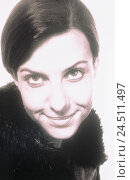 Купить «Woman, young, smile, portrait, b/w, grin inside, black-hairy, facial play, shyly, cautiously, studio», фото № 24511497, снято 29 августа 2001 г. (c) mauritius images / Фотобанк Лори