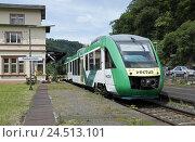 Купить «Regional trajectory, Lahntalbahn, instinct vehicle, class LINT, 'of light innovative short-distance traffic motor coaches',», фото № 24513101, снято 15 мая 2009 г. (c) mauritius images / Фотобанк Лори