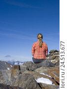 Купить «Austria, Tyrol, Stubaital, top Tyrol, blade tip, mountaineer,», фото № 24513677, снято 15 сентября 2009 г. (c) mauritius images / Фотобанк Лори