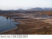Купить «Spain, Canary islands, Lanzarote, Salinas de Janubio, volcano mountains,», фото № 24520001, снято 2 февраля 2010 г. (c) mauritius images / Фотобанк Лори