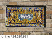 Купить «Spain, Andalusia, Seville, Fabrica Real de Tabacos, tile picture, tobacco factory, tobacco factory, tobacco, factory, tiles, tile picture, picture, golden,», фото № 24520981, снято 25 февраля 2010 г. (c) mauritius images / Фотобанк Лори