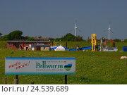 Купить «Germany, Schleswig - Holstein, north frieze country, island Pellworm, dyke, sign,», фото № 24539689, снято 29 сентября 2009 г. (c) mauritius images / Фотобанк Лори