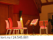 Купить «Concert hall, chairs, music stands, blank, deserted, culture, music, event, music event, quartet, stand, notes, score holders, red, light, lamp, atmosphere, atmospheric, inside,», фото № 24545881, снято 4 марта 2010 г. (c) mauritius images / Фотобанк Лори