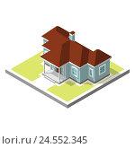 Изометрическое изображение частного дома. Стоковая иллюстрация, иллюстратор Алексей Плескач / Фотобанк Лори