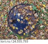 Купить «Перевернутая крышка канализационного люка», фото № 24555793, снято 1 октября 2016 г. (c) Ельцов Владимир / Фотобанк Лори