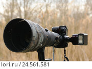 Купить «DSLR Camera, reflex camera, telephoto lens, flash, side view,», фото № 24561581, снято 3 июня 2011 г. (c) mauritius images / Фотобанк Лори