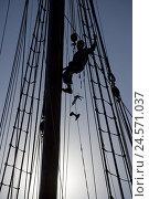 Купить «Sailing ship, detail, masts, rigging, man, silhouette, Spain, Barcelona, Rambla del Mar, harbour, ship, sailings, sailor, ropes, ropes, hang, there climb, work, yacht harbour, outside, people,», фото № 24571037, снято 4 сентября 2008 г. (c) mauritius images / Фотобанк Лори