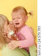 Купить «Girls, infant, cry, mother, consolation, portrait, curled,», фото № 24579781, снято 1 апреля 2008 г. (c) mauritius images / Фотобанк Лори