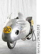Купить «Old-timers, racing engine radian NSU, Sportmax, studio, aluminium lining, lining, silver, stand, aerodynamics, motorcycle, NSU old-timer, old, nostalgically...», фото № 24582013, снято 8 мая 2008 г. (c) mauritius images / Фотобанк Лори