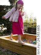 Купить «Girls, balance, sandbox, garden, summer, evening light,», фото № 24583665, снято 11 марта 2009 г. (c) mauritius images / Фотобанк Лори