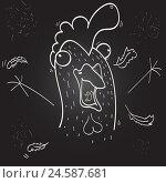 Купить «Смешной эскиз петуха с перьями», иллюстрация № 24587681 (c) Duzhnikova Iuliia / Фотобанк Лори
