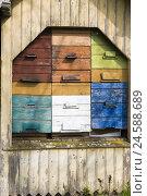 Купить «Beehive, wooden boxes, colourful,», фото № 24588689, снято 19 августа 2018 г. (c) mauritius images / Фотобанк Лори