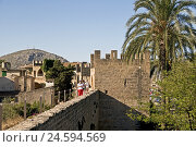 Купить «Spain, the Balearic Islands, Majorca, Alcudia, city wall, tourist, town, local view, fortification, place, person, defensive walls, place of interest, tourism, palm,», фото № 24594569, снято 15 октября 2010 г. (c) mauritius images / Фотобанк Лори