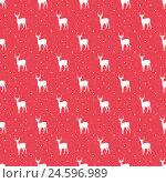 Красный бесшовный фон с оленями. Стоковая иллюстрация, иллюстратор Алла Ринчино / Фотобанк Лори