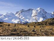 Купить «Cairn, Switzerland, Valais, Breithorn,», фото № 24645093, снято 14 декабря 2018 г. (c) mauritius images / Фотобанк Лори