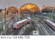 Купить «Germany, Saxony, Dresden, central station, trains, tracks,», фото № 24646729, снято 20 июля 2018 г. (c) mauritius images / Фотобанк Лори