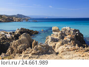 Купить «Rock formations at the Baia Santa Reparata, Italy, Sardinia,», фото № 24661989, снято 16 августа 2018 г. (c) mauritius images / Фотобанк Лори