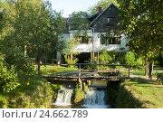 Купить «Croatia, Dalmatia, Rastoke with Slunj, house on the river,», фото № 24662789, снято 15 августа 2011 г. (c) mauritius images / Фотобанк Лори