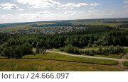 Купить «Aerial view country road field russia», видеоролик № 24666097, снято 30 сентября 2016 г. (c) Илья Насакин / Фотобанк Лори