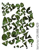 Латинский алфавит из зелёных иголок на белом фоне. Стоковое фото, фотограф Екатерина Голубкова / Фотобанк Лори