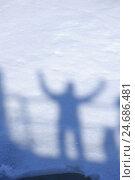 Купить «Shadow of a person on snow,», фото № 24686481, снято 24 июня 2019 г. (c) mauritius images / Фотобанк Лори